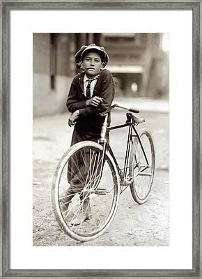 Red Light District Messenger Boy - 1913 Framed Print by Daniel Hagerman