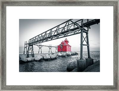 Framed Print featuring the photograph Red Light On Lake Michigan by Mark David Zahn Photography