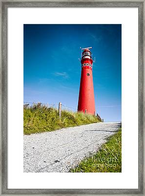 Red Lighthouse And Deep Blue Sky. Framed Print