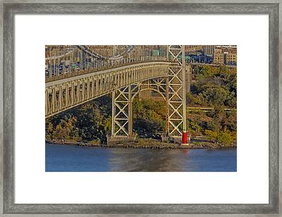 Red Lighthouse And Great Gray Bridge Framed Print