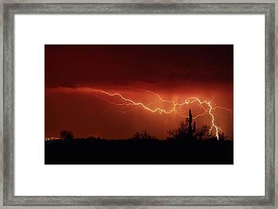 Red Lightning  Framed Print
