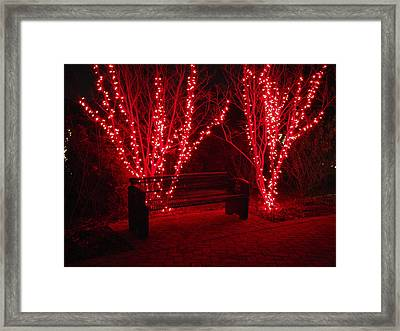 Red Lights And Bench Framed Print