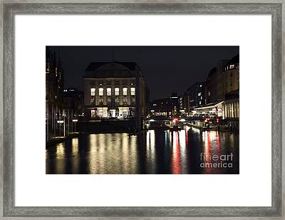 Red Lights On The Hamburg Canal Framed Print by John Rizzuto