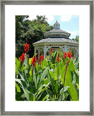 Red Lily Gazebo Garden Framed Print