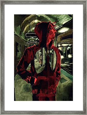 Red Line At Chicago Framed Print by David Condry