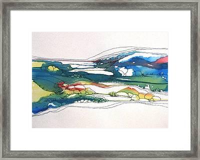 Red Line Flow Framed Print by Renee Goularte