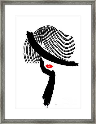 Framed Print featuring the painting Red Lips by Rafael Salazar