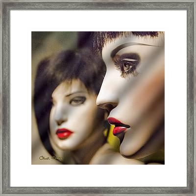 Red Lips - Black Heart Framed Print