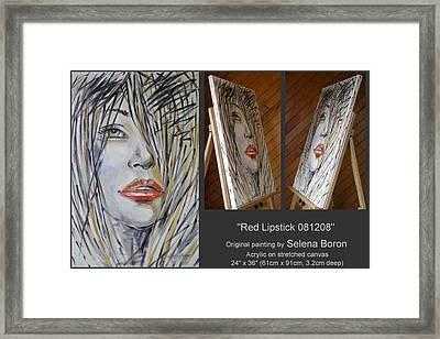 Red Lipstick 081208 Framed Print by Selena Boron