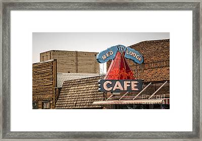 Red Lodge Cafe Old Neon Sign Framed Print by Edward Fielding