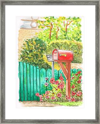 Red Mail Box In Beverly Hills - California Framed Print by Carlos G Groppa