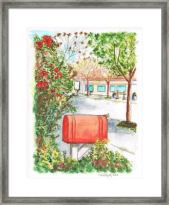 Red Mail Box In Calabazas - California Framed Print by Carlos G Groppa