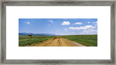 Red Mailbox At The Roadside, San Rafael Framed Print by Panoramic Images