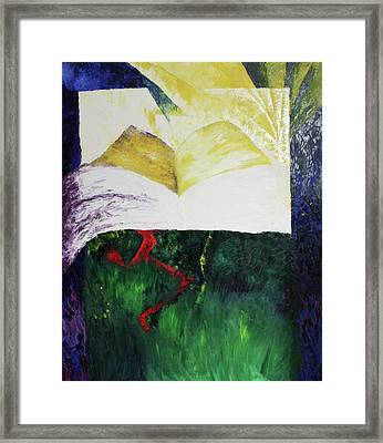 Framed Print featuring the painting Red Man With Truth by Carrie Maurer