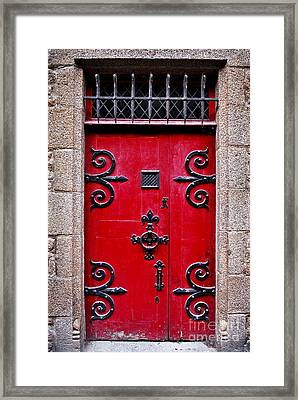 Red Medieval Door Framed Print