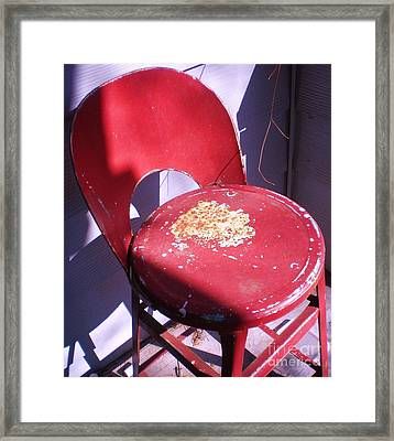 Red Metal Chair Framed Print