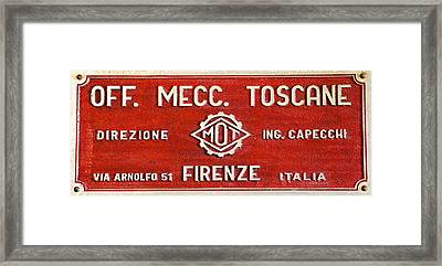 Red Metal Sign Of Tuscany Framed Print by David Letts