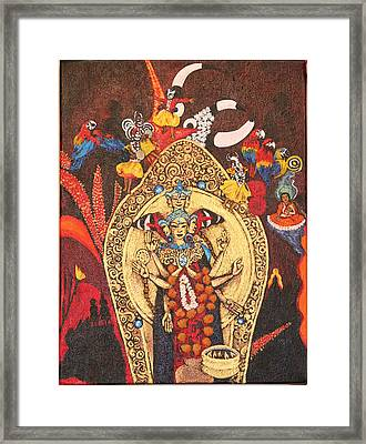 Red Mexican Buddha Framed Print by Ana Delilah DelMar Belacqua Wilder