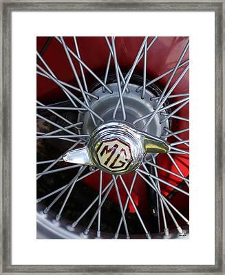 Red Mg Wire Spoke Rim Framed Print by Mark Steven Burhart
