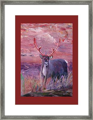 Red Mighty Moose Mongoose Reindeer Elk Rentier Caribou Framed Print by M Bleichner