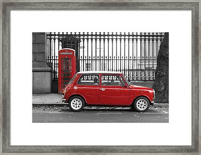 Red Mini Cooper In London Framed Print