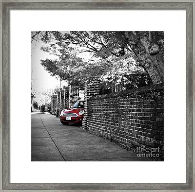 Framed Print featuring the photograph Red Mini Cooper- The Debut by Nancy Dole McGuigan
