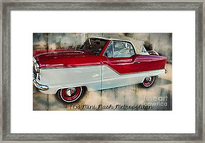 Red Mini Nash Vintage Car Framed Print by Peggy Franz