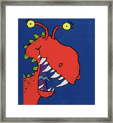 Red Monster Framed Print by Maylee Christie