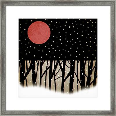 Red Moon And Snow Framed Print by Carol Leigh