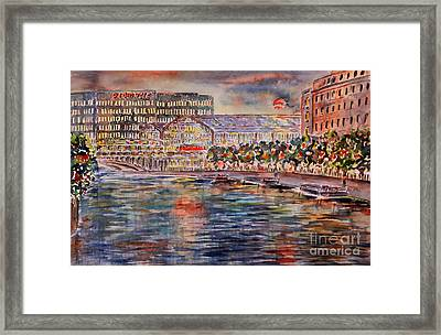 Red Moon Over Berlin Framed Print by Alfred Motzer