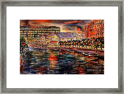 Red Moon Over Berlin II Framed Print by Alfred Motzer