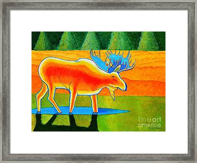 Framed Print featuring the painting Red Moose by Joseph J Stevens