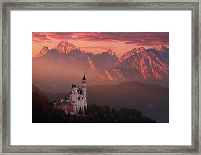 Red Morning Above The Castle Framed Print