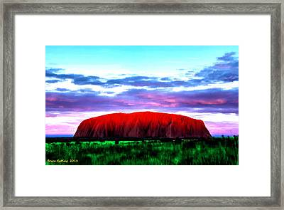 Framed Print featuring the painting Red Mountain Sunset by Bruce Nutting