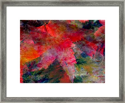 Framed Print featuring the painting Red Nature Abstract Autumn Leaf by John Fish