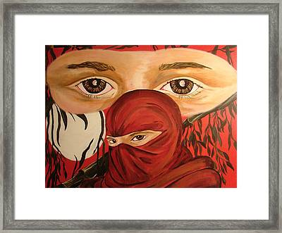 Red Ninja Framed Print by Lorinda Fore