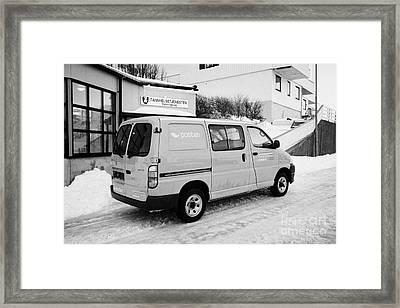 07aa79de7612b8 Red Norwegian Post Collection Delivery Hiace Van Vehicle Norway Europe  Framed Print by Joe Fox