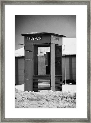 Red Norwegian Telenor Telefon Box Buried In The Snow Norway Europe Framed Print by Joe Fox