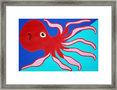 Red Octopus Framed Print by Matthew Brzostoski