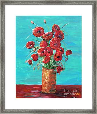 Framed Print featuring the painting Red On My Table  by Eloise Schneider