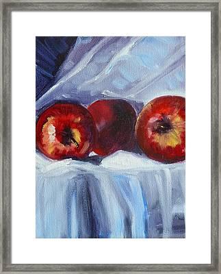 Red On White Framed Print by Nancy Merkle