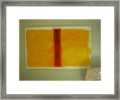 Framed Print featuring the painting Red  On Yellow by Phoenix De Vries