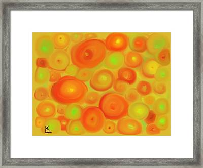 Red-orange Circle Abstract Framed Print by Karen Buford