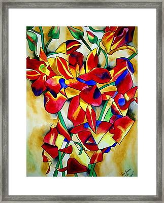 Red Orchids Framed Print by Sacha Grossel