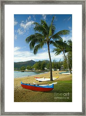 Red Outrigger Canoe In Kauai Framed Print by David Smith