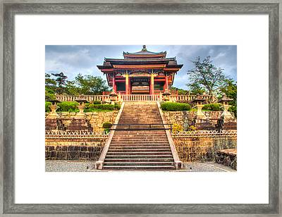 Red Pagoda At Sunset At Japanese Temple Framed Print by Laura Palmer
