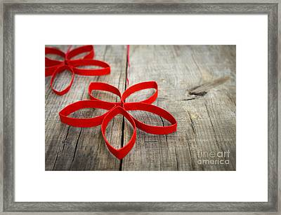 Red Paper Christmas Stars Framed Print by Aged Pixel