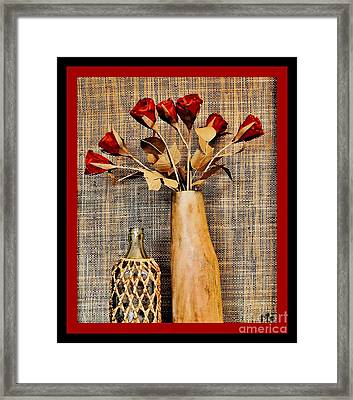 Red Paper Roses Still Life Framed Print by Marsha Heiken