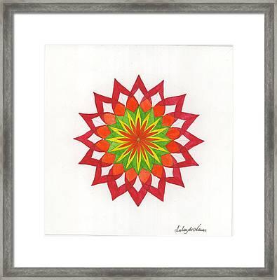Red Passion Mandala Framed Print by Silvia Justo Fernandez