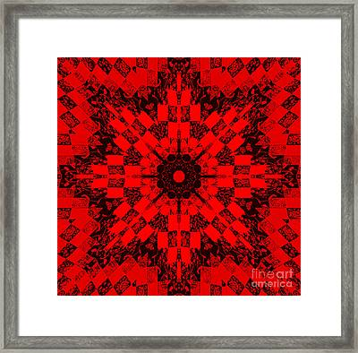 Red Patchwork Art Framed Print by Barbara Griffin